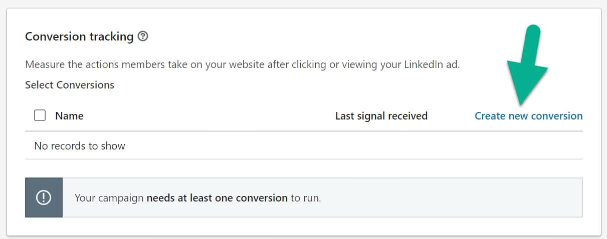 create new conversion for LinkedIn advertising