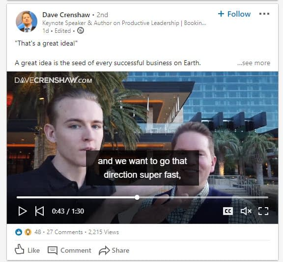 video post with LinkedIn hashtags