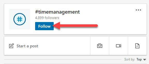 follow LinkedIn hashtags