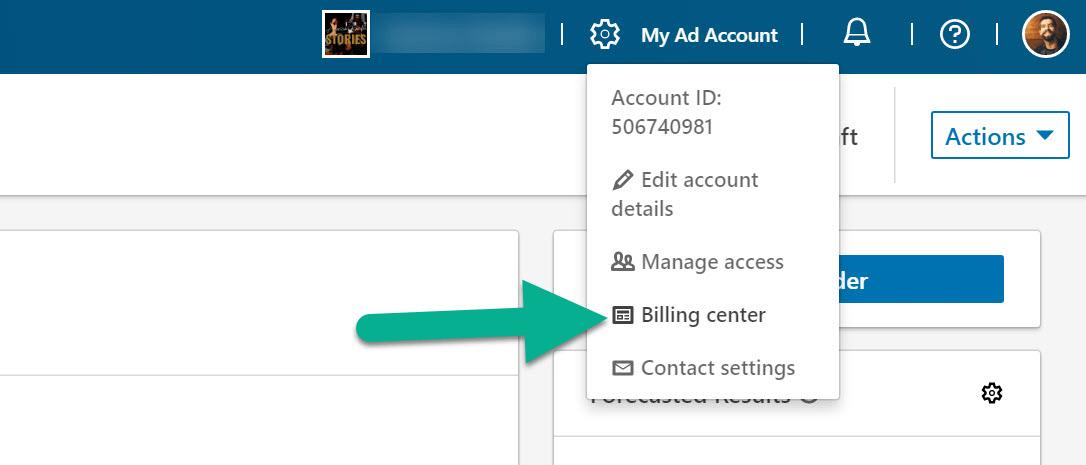 billing center for LinkedIn advertising