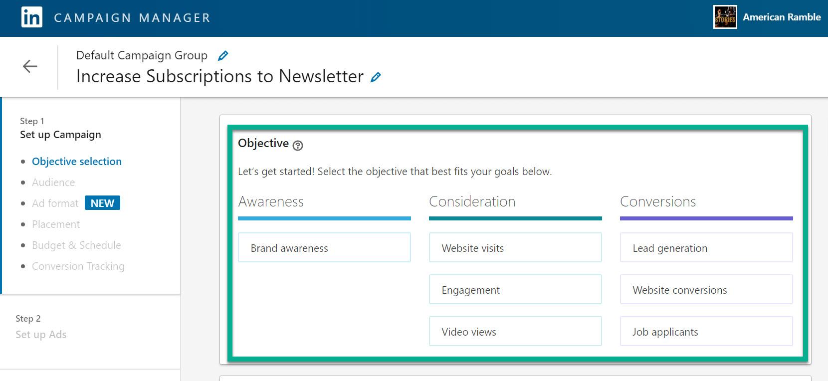 make objective for LinkedIn advertising