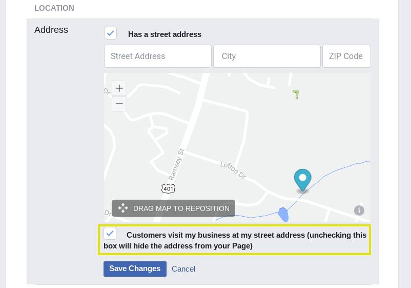 The check-in settings on a Facebook business page.