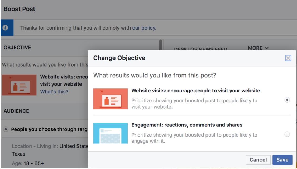 change ad objective