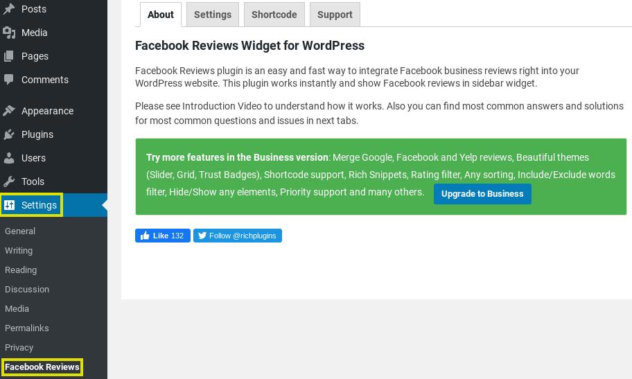 The Facebook Reviews widget settings in the WordPress dashboard.