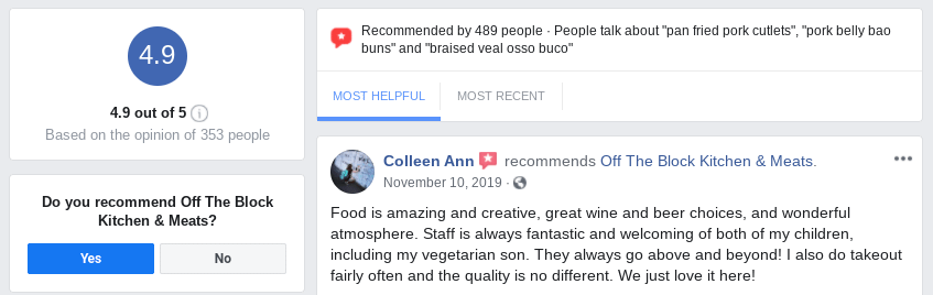A Facebook review left on a restaurant's