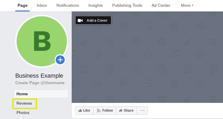 The Reviews tab on a Facebook business page.