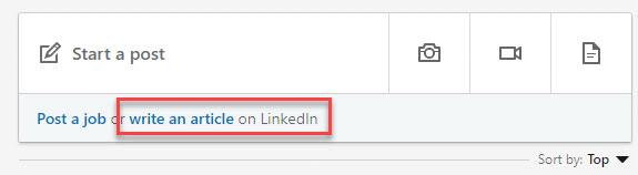 write LinkedIn articles link