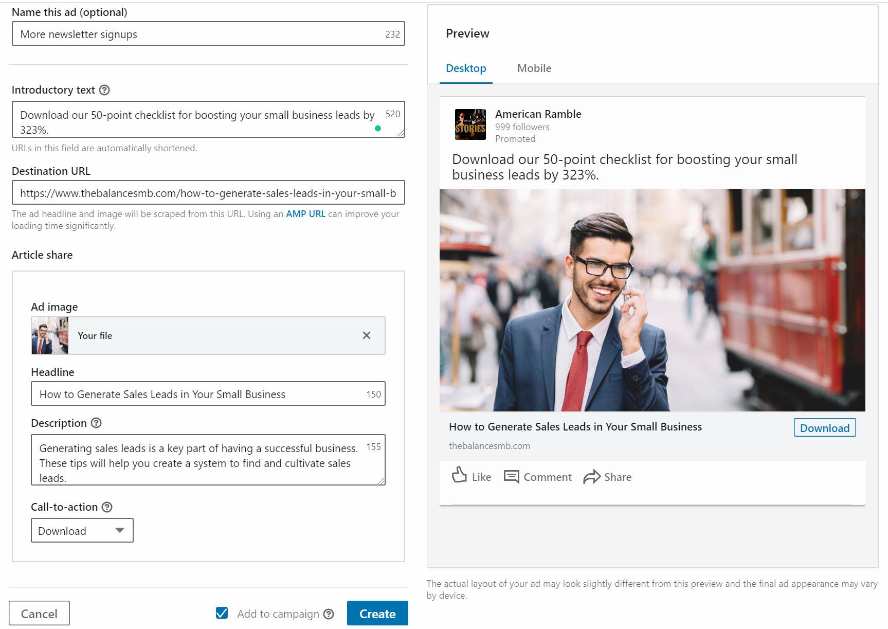 design your LinkedIn advertising