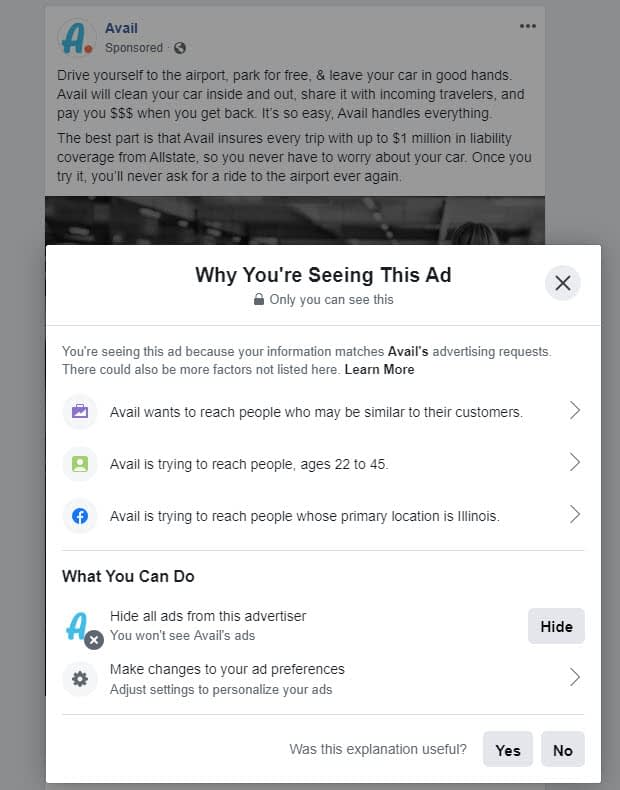 avail ad - Facebook ads competition