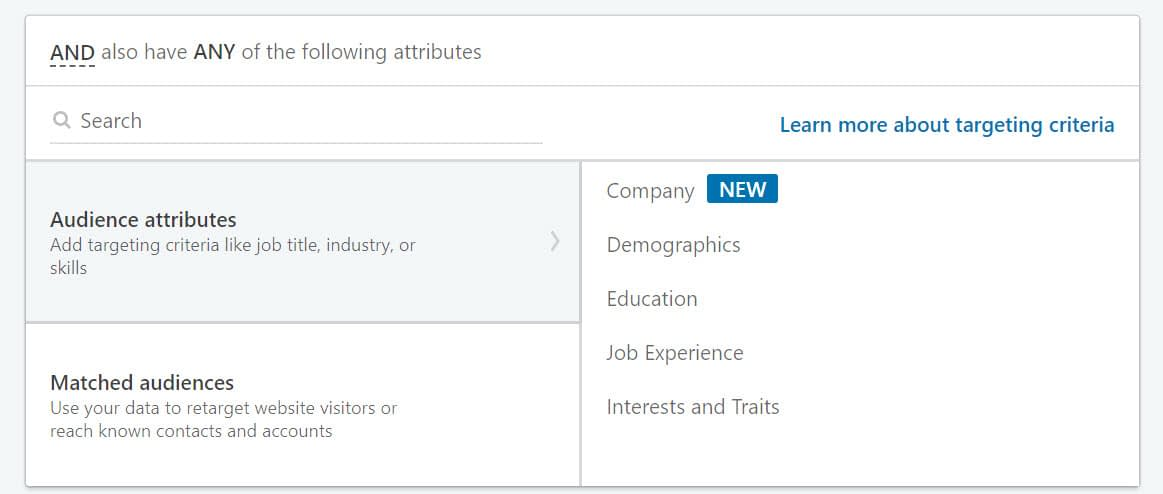 audience attributes for LinkedIn advertising