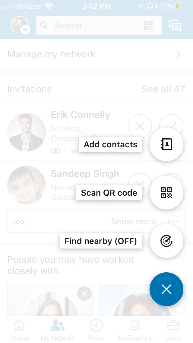 find nearby - LinkedIn networking