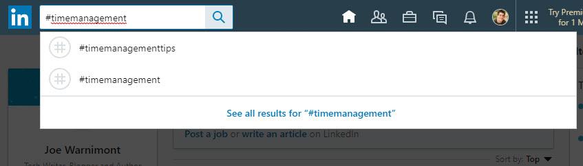 time management LinkedIn hashtags
