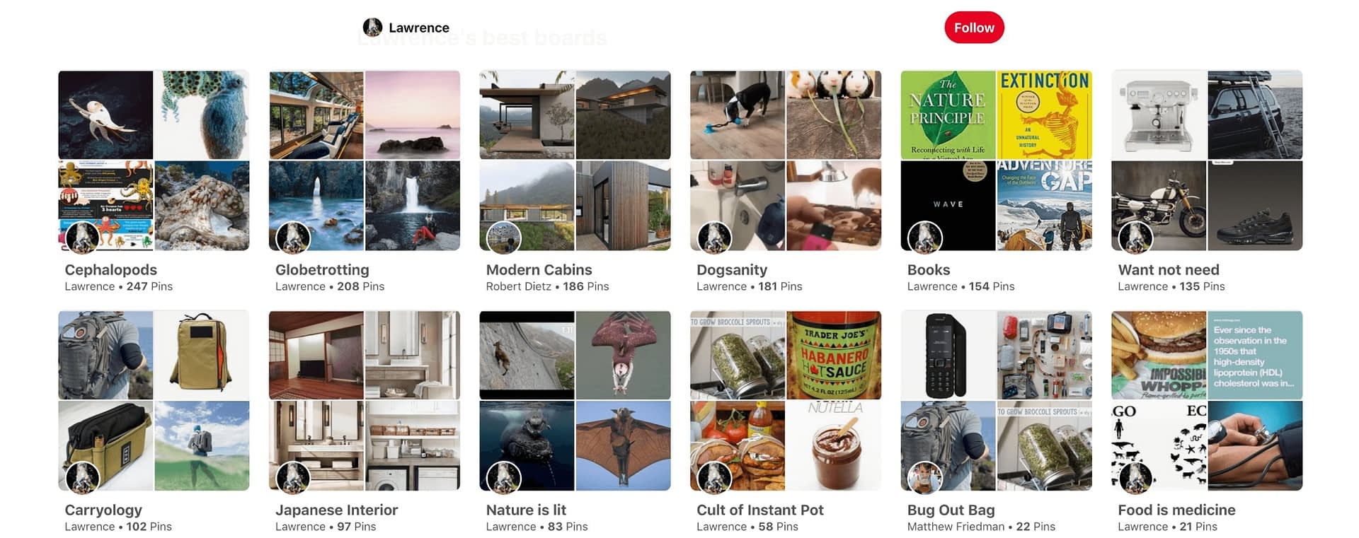 Showing sections within Pinterest.