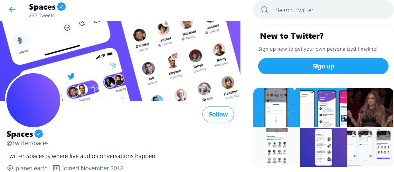 Twitter Spaces homepage