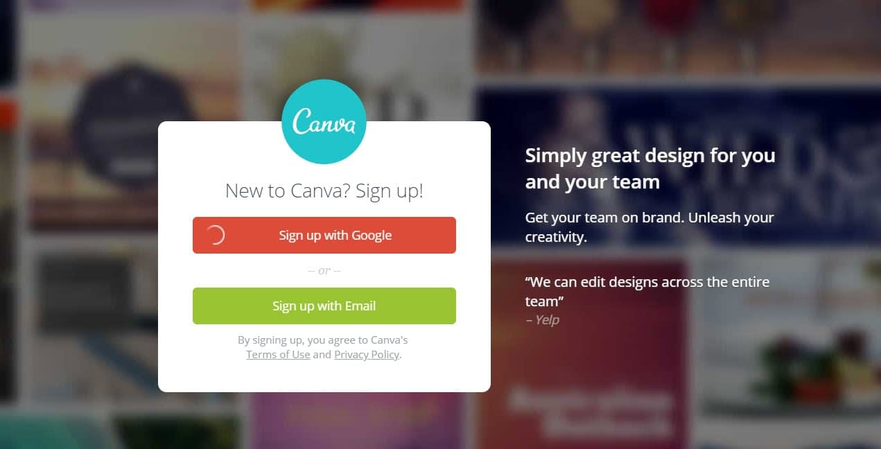 How to make infographics with Canva - Sign Up
