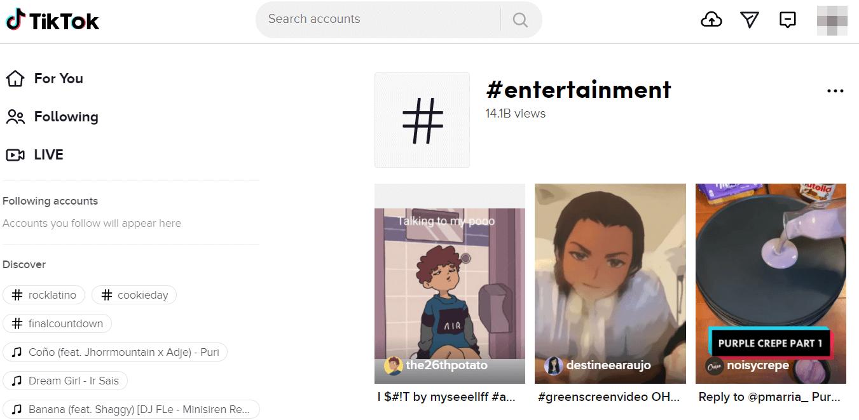TikTok entertainment tag landing page