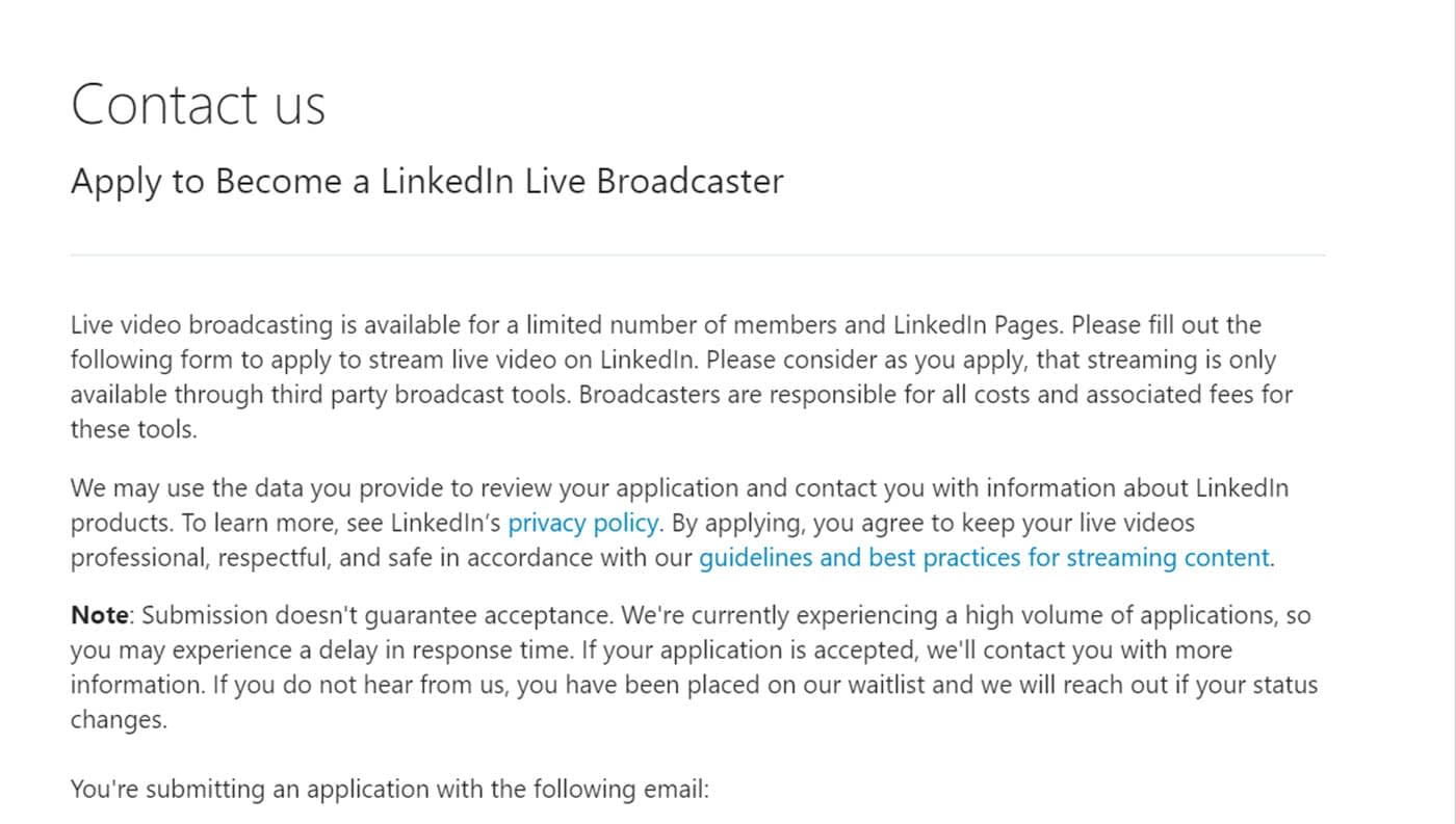 apply for LinkedIn live streaming