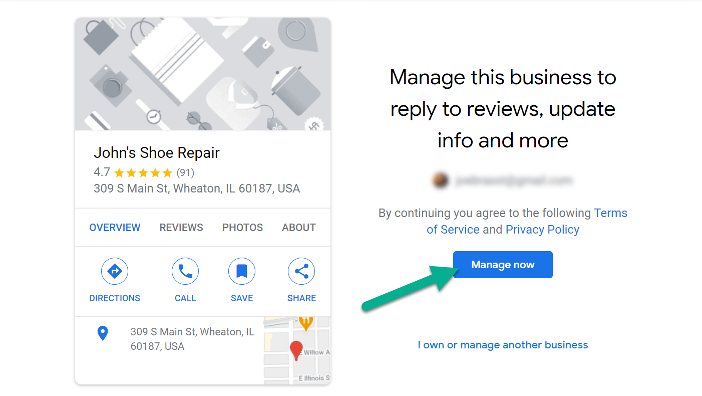 how to use Google My Business manage button