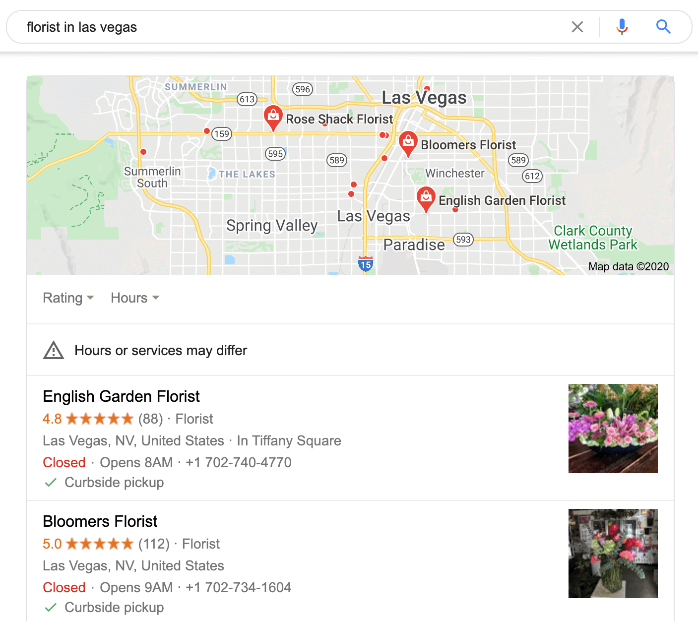 The Google Local Results pane with the top three results.