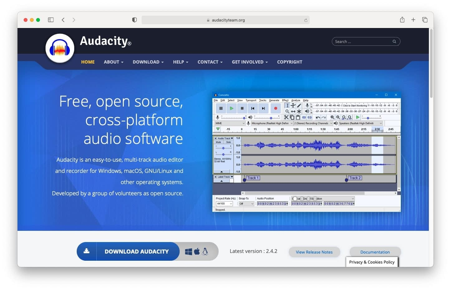 Audacity is a free software editing option for podcasters