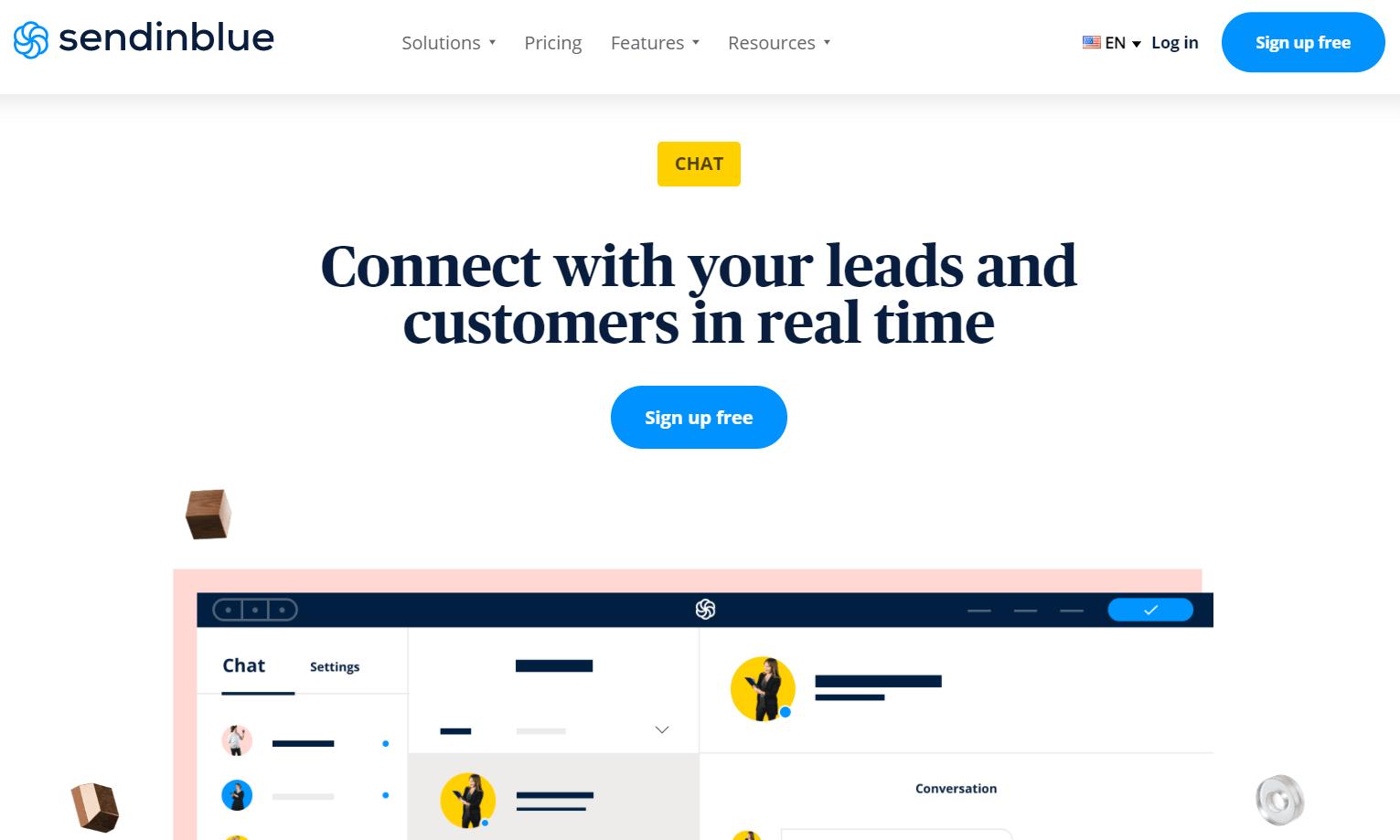 The Sendinblue chat function for omnichannel marketing.