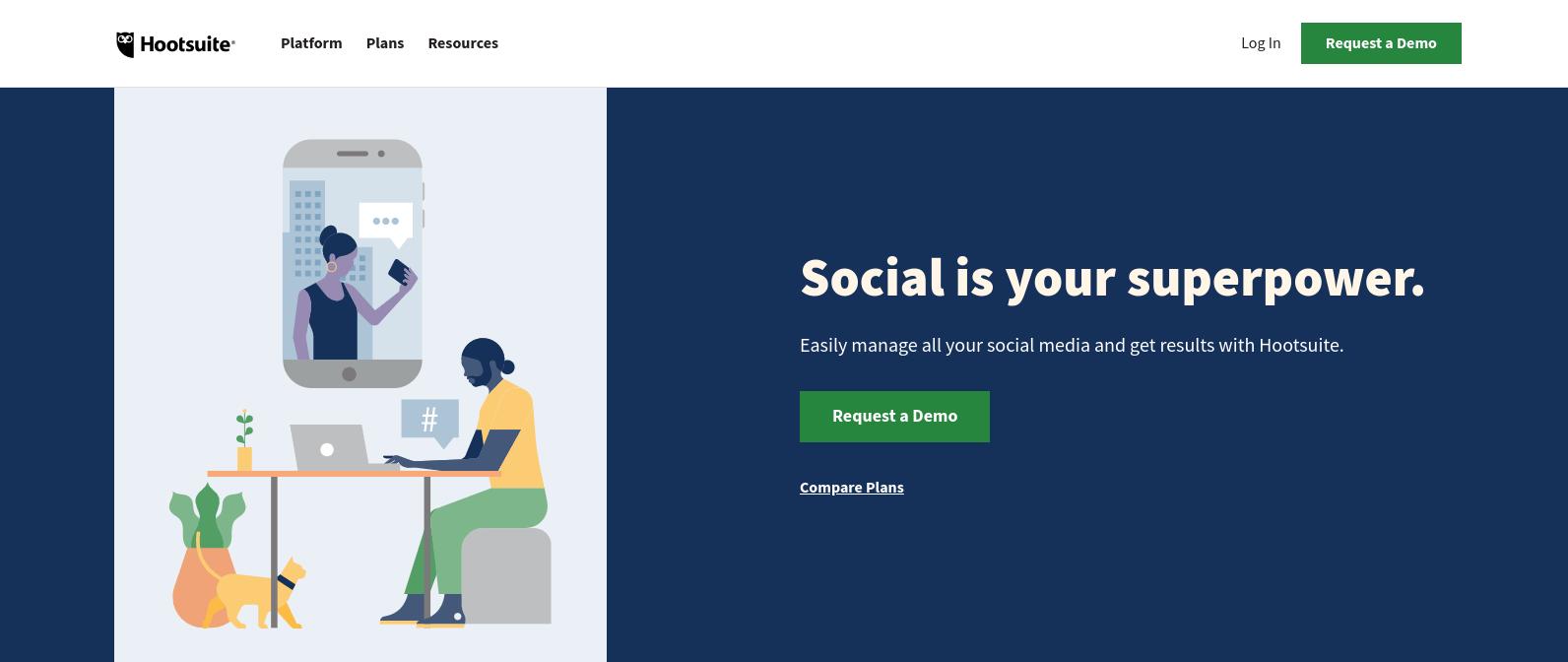 The Hootsuite website.
