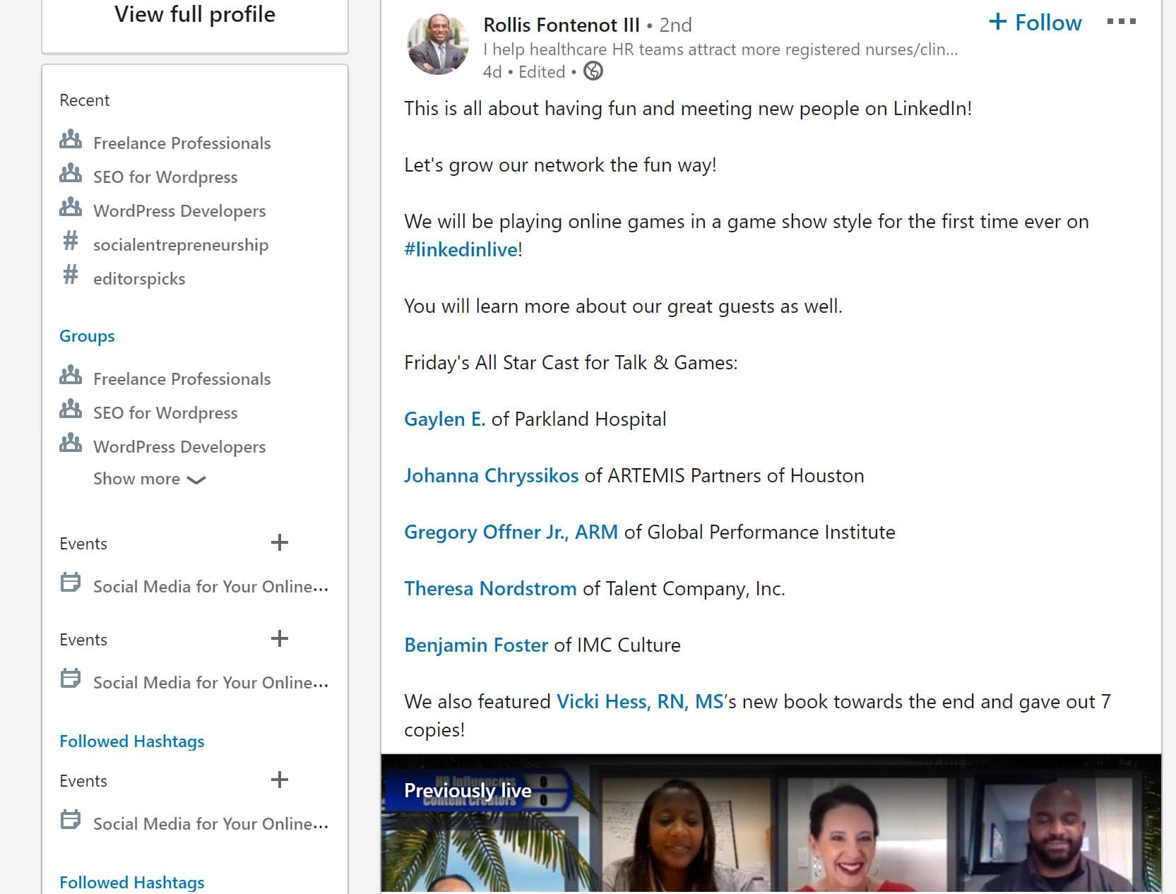 LinkedIn live streaming event