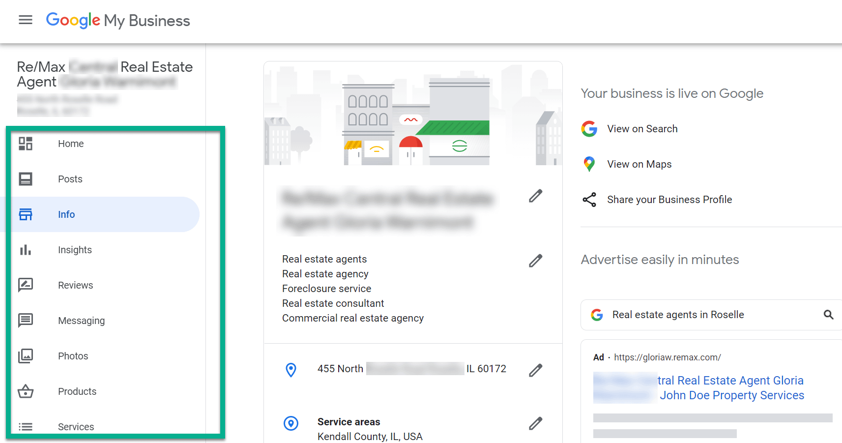 how to use Google My Business with the info tab