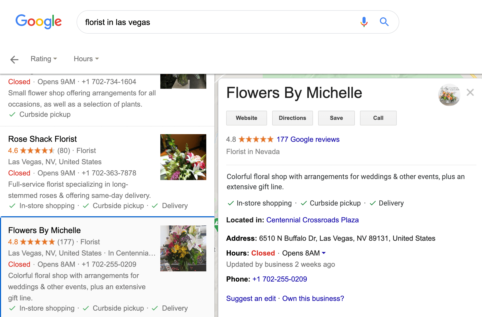 A good example of a Google My Business listing.