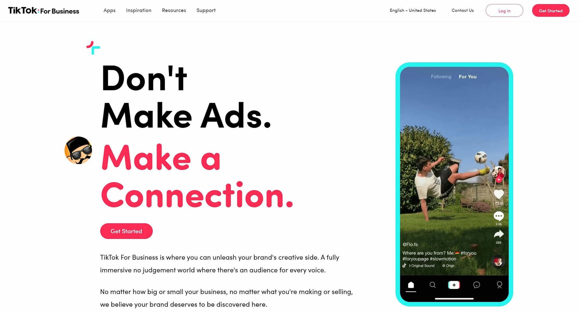 The TikTok for Business ads platform.