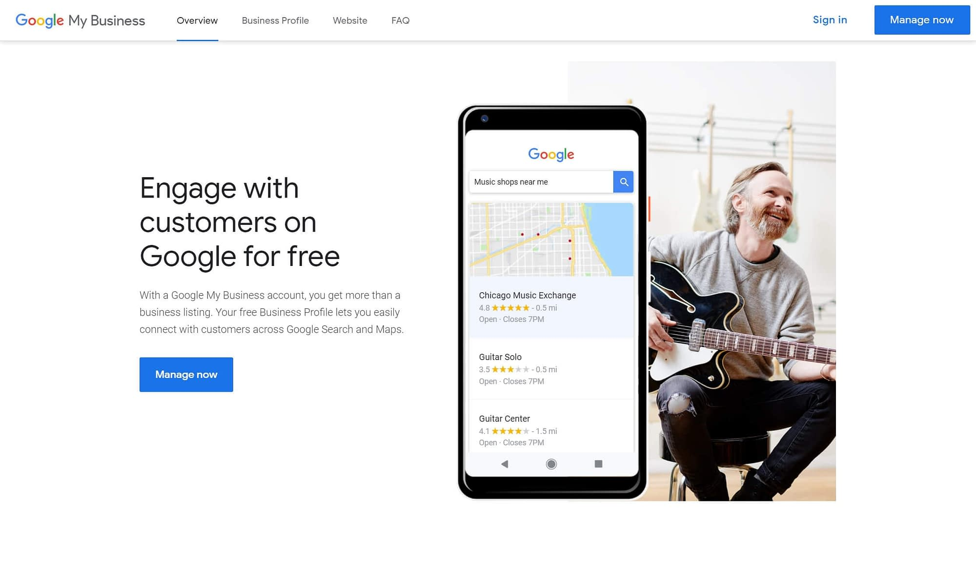 The Google Business home page.