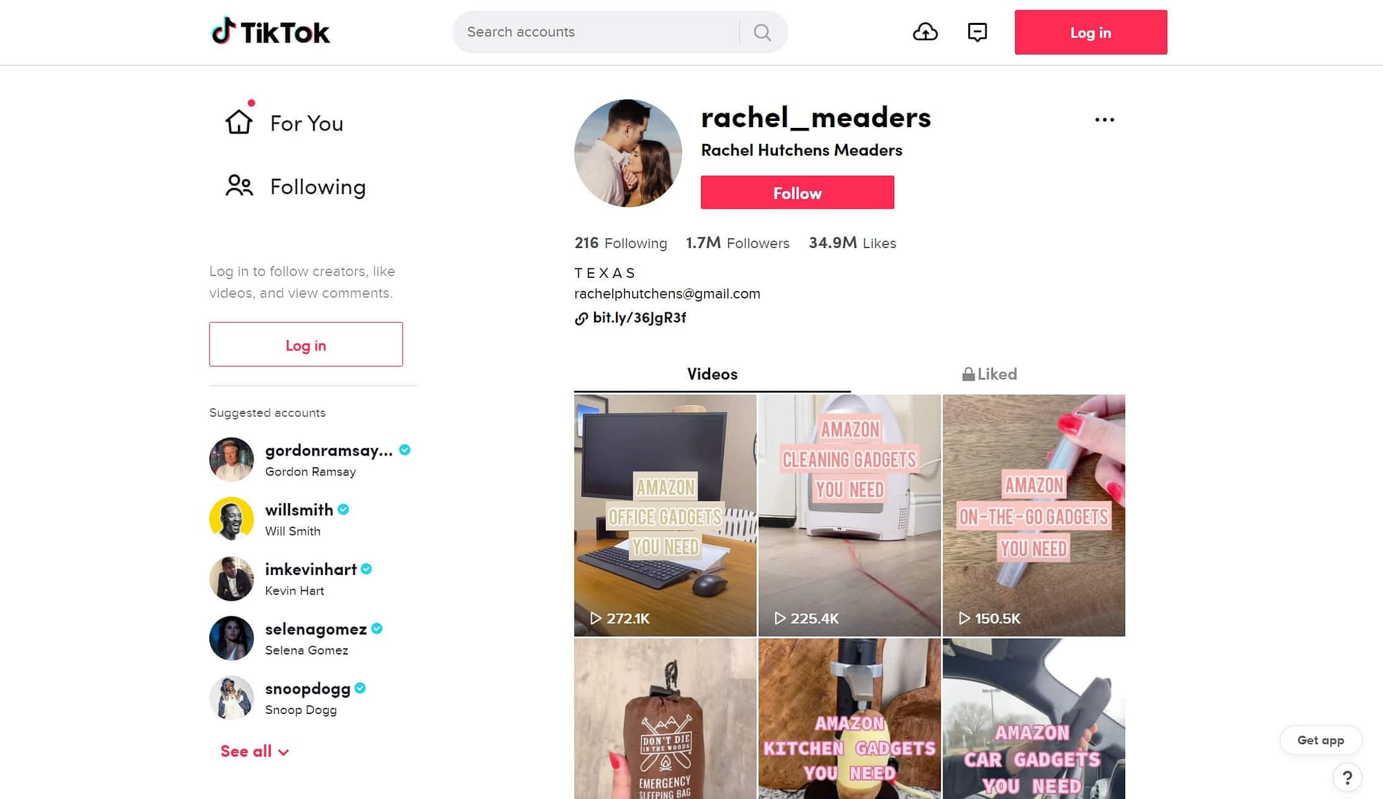 An example of a TikTok profile that focuses on affiliate marketing.