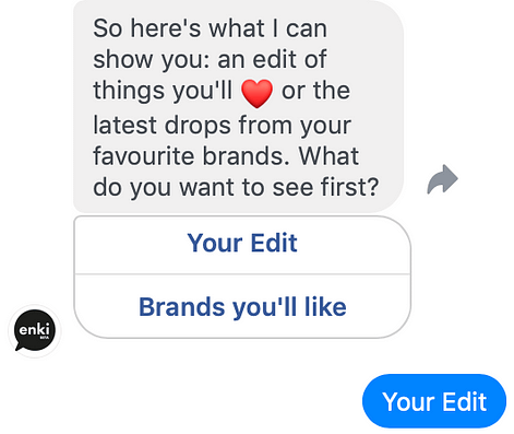 An example conversation with the ASOS Enki chatbot.