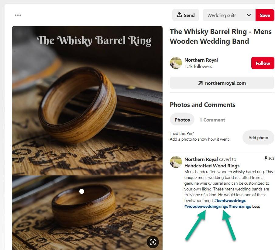whiskey wood ring - Pinterest marketing