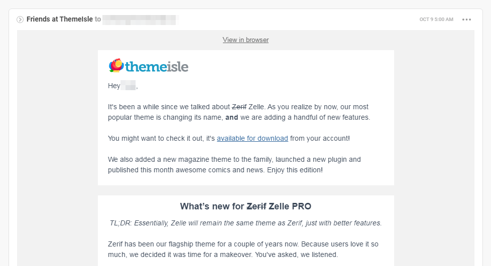 An example of a ThemeIsle email newsletter.
