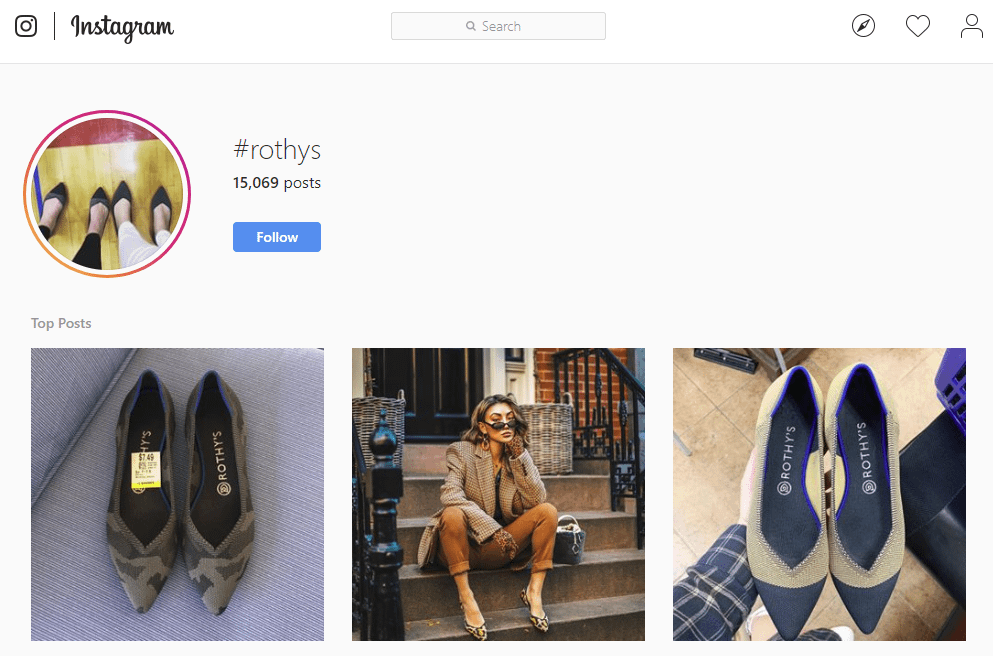 Instagram hashtags – branded hashtag for Rothys