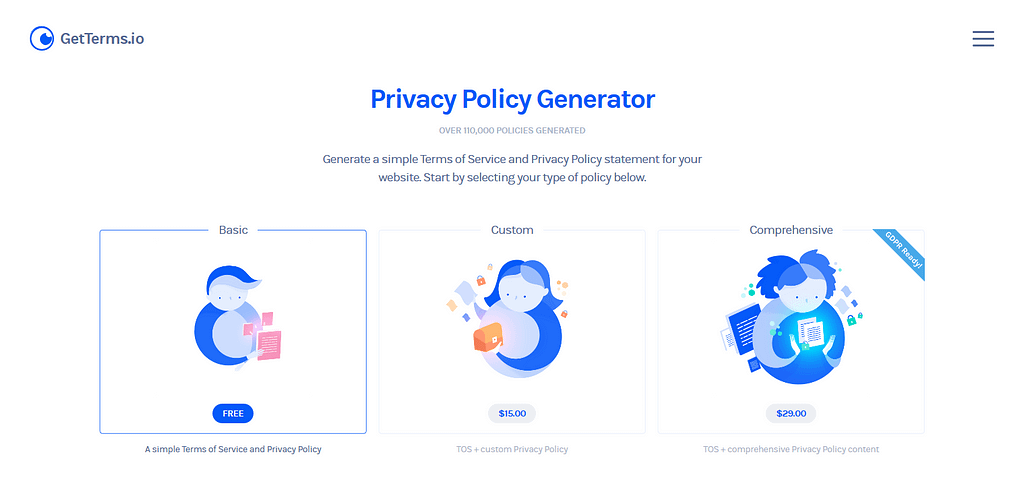 GetTerms privacy policy generator