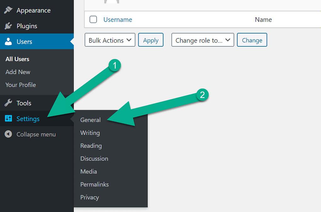 settings and general WordPress language