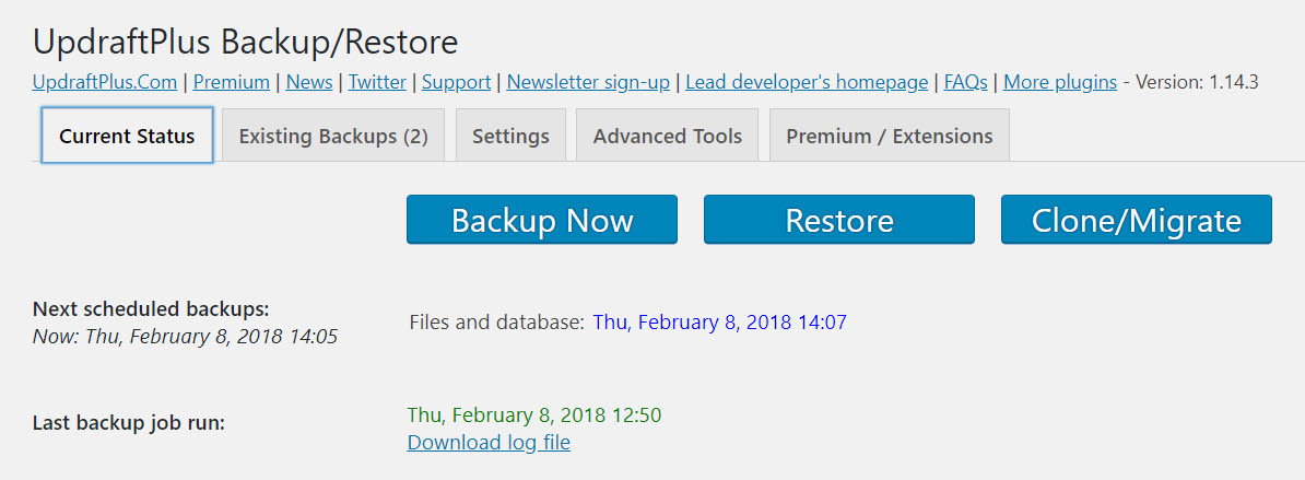 backup a WordPress site for free with UpDraftPlus