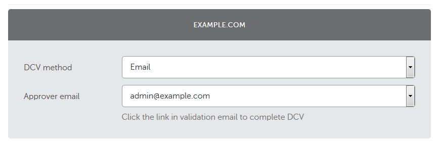 Selecting email validation to renew SSL certificate