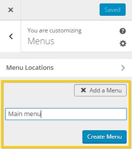 Creating a menu using WordPress customizer