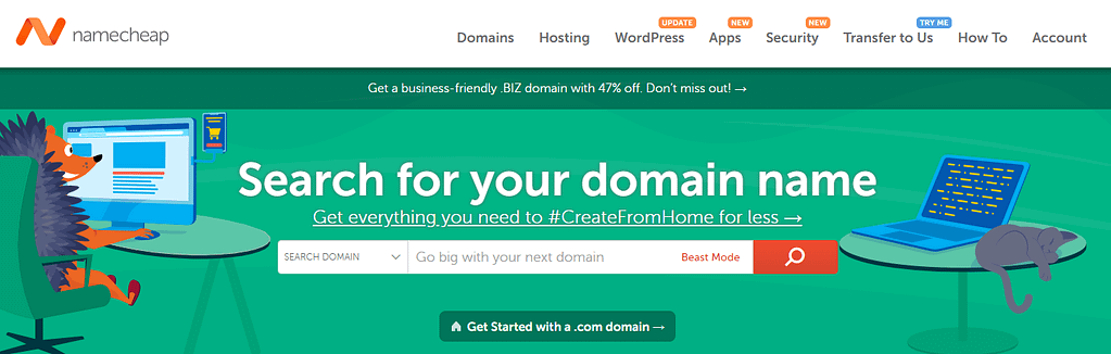 The Namecheap homepage.