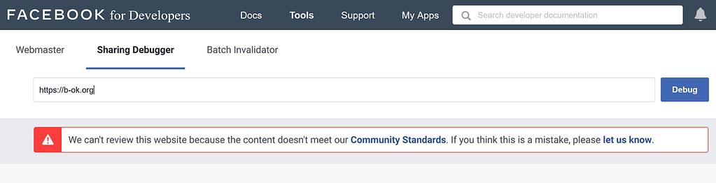 website blocked by Facebook message