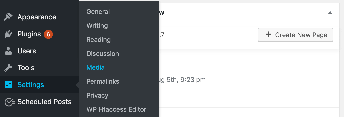 The Settings > Media option in WordPress.