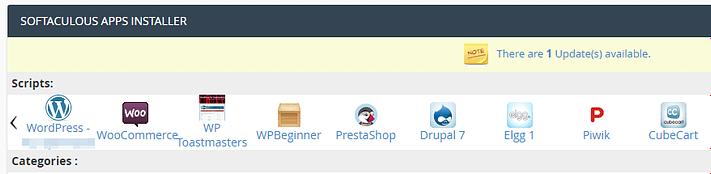 Installing WordPress using Softaculous.