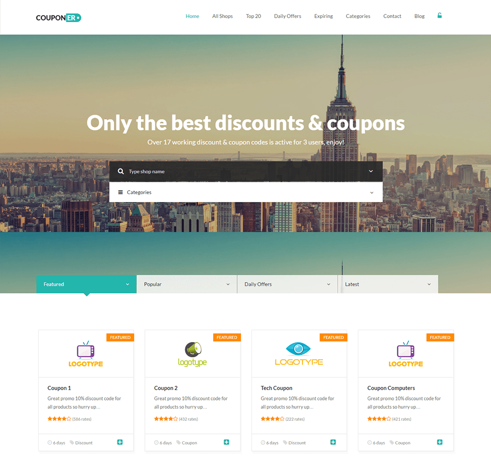 Build a coupon site on WordPress: Couponer
