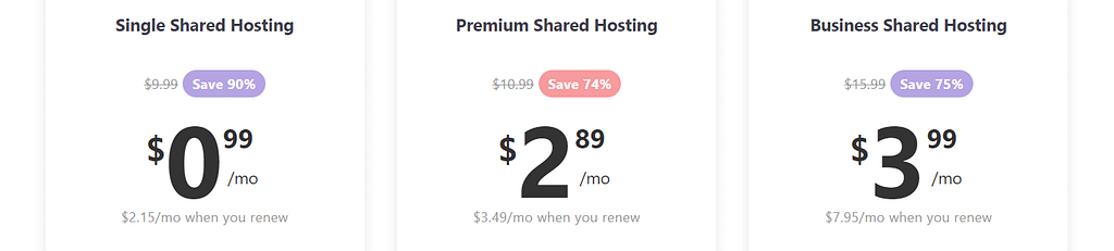 Example of cheap WordPress hosting plans.