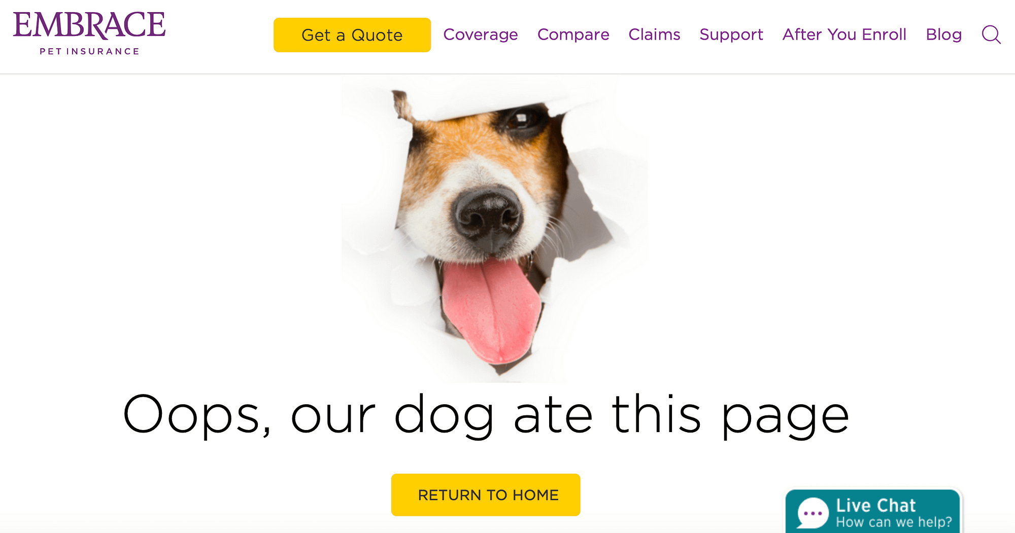 The Embrace Pet Insurance 404 error page.