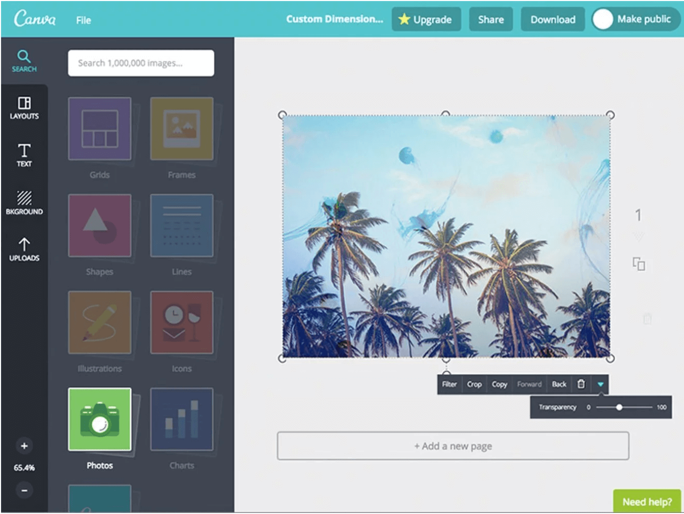 Adding a transparency in Canva's design editor.