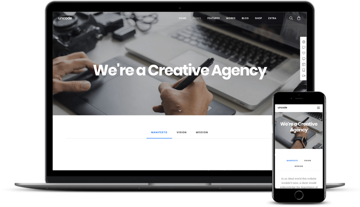 A popular theme Uncode which is also one of the best responsive WordPress themes.